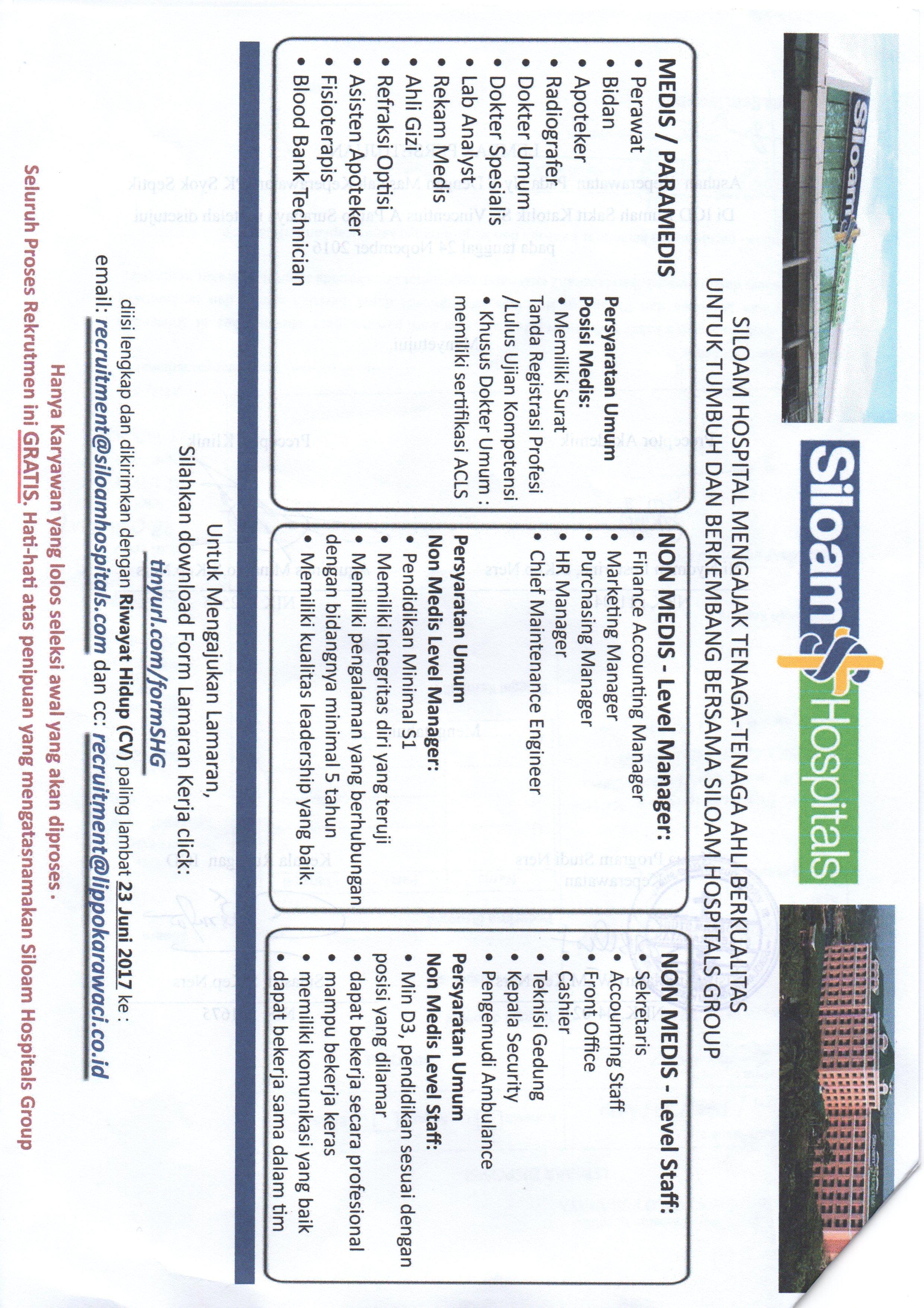 Lowongan Pekerjaan Siloam Hospital Vincentius Career Center